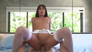 Girl with small tits rides cock like a goddess