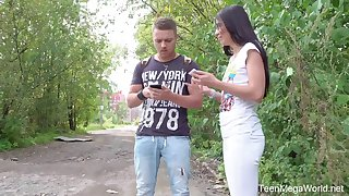 Yummy Russian teen Roxy Sky gets her anus stretched on the first date