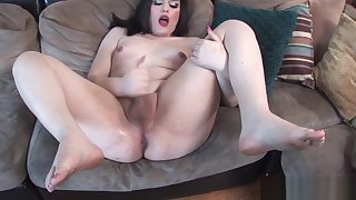 Chubby casting tgirl tugging her cock