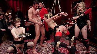 Crazy and sexy Aiden Starr enjoys hardcore games while she hangs tied