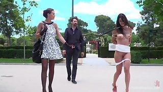 Hot mistress Tina Kay and a horny master walk a beautiful slut on a leash