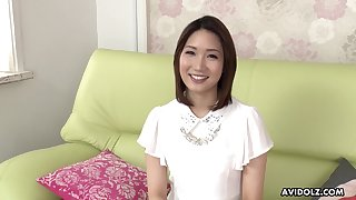 Torrid Japanese brunette Mikuni Maisaki has a great time while masturbating