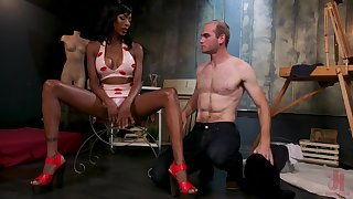 White dude licks anus and sucks black cock of transsexual dominatrix