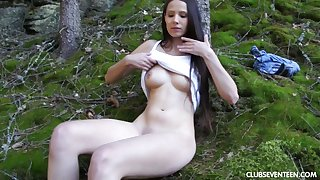Solo model Vanessa O plays with her pink taco in the outdoors