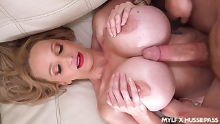 Busty cougar lands endless inches up her shaved cherry