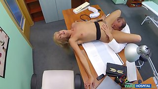 Aroused blonde fucked by her doctor and filmed in secret