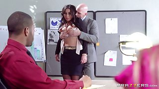 Good looking secretary Stephani Moretti fucked in the office