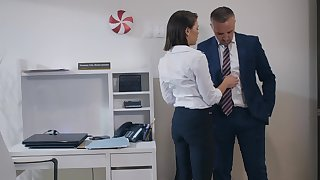 Fucking in the office with ball licking secretary Adriana Chechik