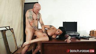 Full hardcore over the desk for the busty secretary