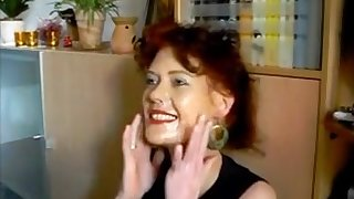 Very hot red head milf getting a good facial for her makeup