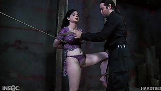 Tied up hooker with a bag on her head Sybil Hawthorne gets punished