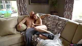 Petite young blonde is amazes by how big her step brother's dick is