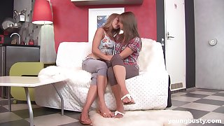 Flaming lesbians share their lustful cam play in a romantic manner