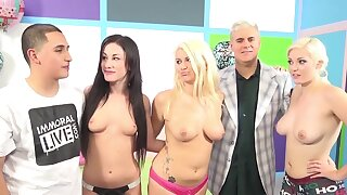 Sweet chicks Jennifer White and Laela Pryce have sex with a couple