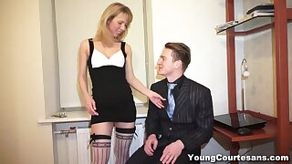 Skinny teen courtesan gives a blowjob and gets fucked for money