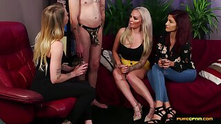 Video of sluts in clothes sucking a dick of a naked man - Louise Lee