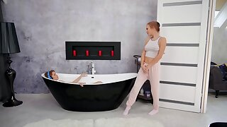 Erotic lesbian sex between fit gay girls Aislin and Casey in the bathroom