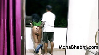 Indian Aunty Outdoor With Her Husband Giving Blowjob Fucking