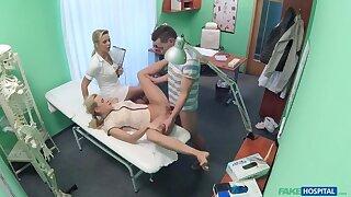 Nurse watches as sexy couple fuck