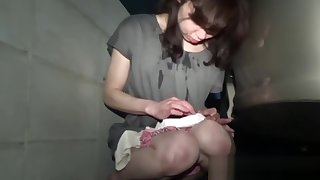 Peeing Japanese cutie sucks dick and gets facial