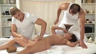 Vibrant Kalea Taylor on touching erotic massage unconnected with two men