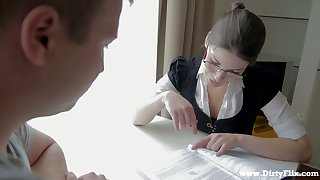 Nerdy librarian in glasses Zena Little is having quickie with one of students