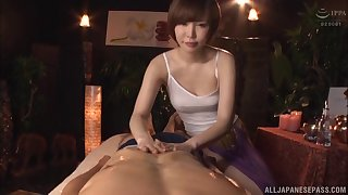 Precipitate haired Japanese Satomi Yuria massages a bushwa with her pussy
