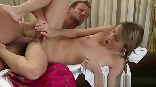 Incredible young gal giving very hot blowjob