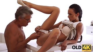Mature boss nails black-haired secretary applicable on..