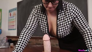Chubby nerdy MILF Ashley Rider is eager less play with her face load of shit