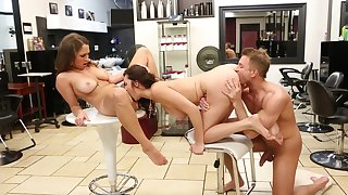 Beauty Salon Triad Orgy Relative to Lily Love and Holly Michaels