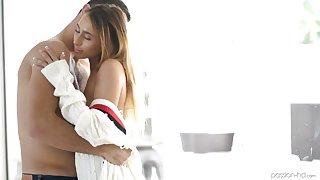 Powdery seductress Raquel Diamond is making love with her new beau