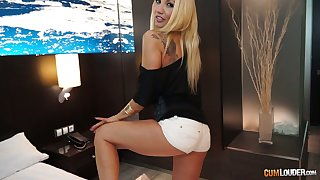 Charming Bulgarian blondie Ginger Hell-fire ends up with stripping and gets poked