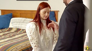 Modest looking bride Danni Rivers spreads legs to enjoy missionary fuck