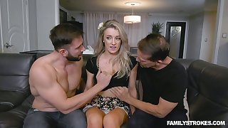 Blondie Kate Kennedy gets intimate with her boyfriend and his stepbrother