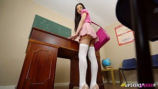 Leggy Asian college chick is flashing her sex-starved teen pussy upskirt