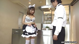 Japanese main in uniform Yume Aino gets her hairy pussy fucked and creampied